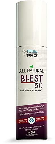 Estrogen - All Natural Bioidentical Estrogen Bi-EST 5.0 - Hormone Replacement Menopause Relief Estrogen Cream for Women - Estriol & Estradiol - Maximum Strength - Two Month Supply - 3oz