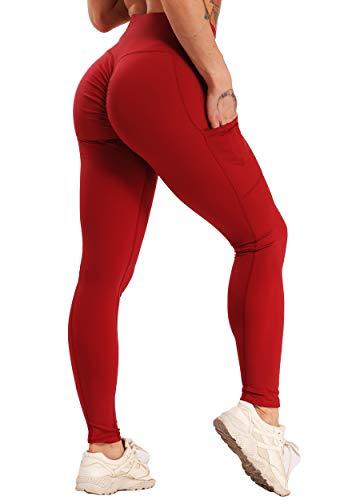 FITTOO Leggings Clásico Super Suave Elásticos Costura Lateral Mujer Pantalones Deportivos Yoga Alta Cintura Transpirables Rojo S