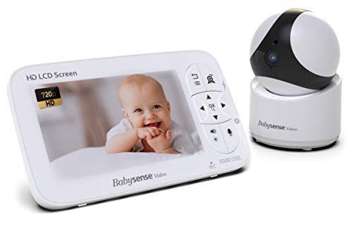 BabySense Video-Babyphone - 720P HD-Säuglingsmonitor mit PTZ-Überwachungskamera und großem 5-Zoll-Display - Zwei-Wege-Talkback-Audio, Zoom, große Reichweite, Nachtsicht