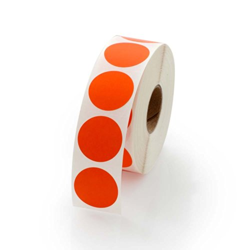 Orange Round Color Coding Inventory Labeling Dot Labels/Stickers - 1 Inch Round Labels 1000 Stickers Per Roll