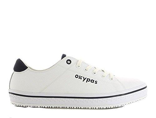 Oxypas Fashion, Berufsschuh Clark, Antistatischer (ESD) Leder Sneaker für Herren (43, Weiß-Navy)