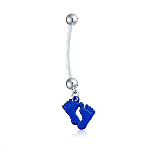 Bling Jewelry Bioflex Blue Enamel Baby Feet Pregnant Belly Ring 316L Steel