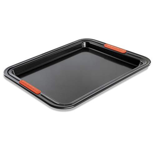 Le Creuset Plaque à Roulés Rectangulaire Anti-Adhérente 33 cm, sans PFOA, Résistant au Levain, En Acier Siliconé, Anthracite/Orange