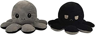 Keklle2 Christmas Kids Reversible Octopus Plushie Doll | Show Your Mood Without Saying a Word | Flip Toys for Children | Black and Gray
