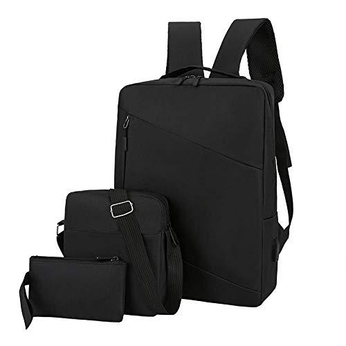 BeniMochila de tres piezas, bolso multifunción para computadora, bolso de viaje de gran capacidad, bolso escolar-negro