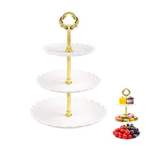 Alzata Per Torta a Tre Livelli, Alzate Portafrutta Cucina, Piatto Per Frutta, Supporto Per Dessert, Adatto Per Banchetti Nuziali, Compleanni, Feste e Feste Varie