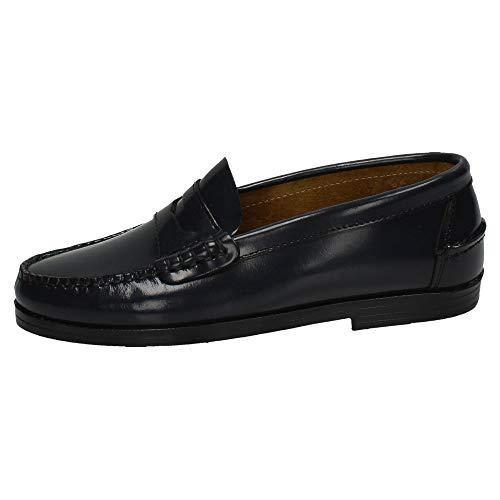 MADE IN SPAIN 210 Castellanos DE Piel NIÑO Zapatos MOCASÍN Negro 34