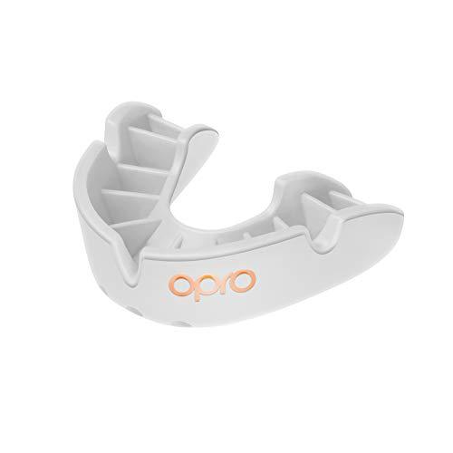Opro Mundschutz Bronze - Zahnschutz für Rugby, Hockey, MMA, Boxen, und andere Kontaktsportarten (Weiß, Erwachsene)