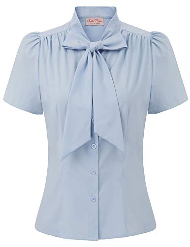 Belle Poque elegant Vintage Retro hellblau Oberteil Damen Kurzarm Tops Sommer Casual Hemd M BP819-3