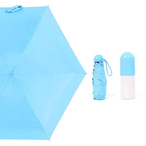 Asosmos Faltbar Klein Schirm Uv-Proof Wasserdicht Mini Sonnenschirm Tragbarer Reise Sonne Regen Regenschirme - Himmelblau