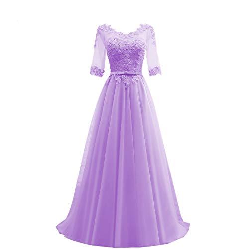 HUINI Abendkleider Lang Elegant Hochzeitskleider Damen Ballkleider mit Ärmel Brautkleider Tüll Festliche Partykleid Lila 36