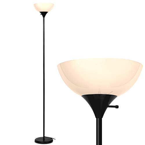 Brightech Sky Dome - Very Bright LED Torchiere Floor Lamp for Living Rooms & Offices Dimmable Modern Standing Lamp  Tall Pole Light for Bedrooms  LED Bulb Included - Jet Black