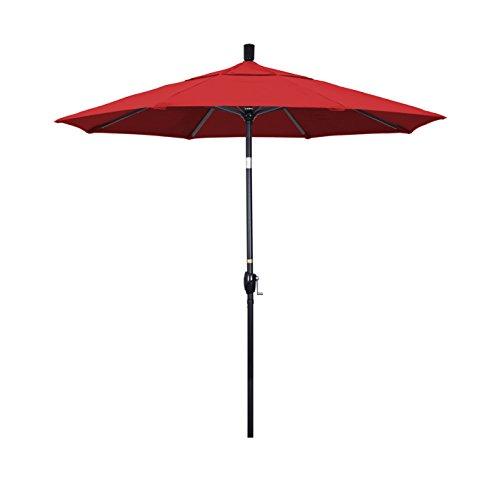 California Umbrella 7.5' Round Aluminum Market Umbrella, Crank Lift, Push Button Tilt, Black Pole, Sunbrella Jockey Red