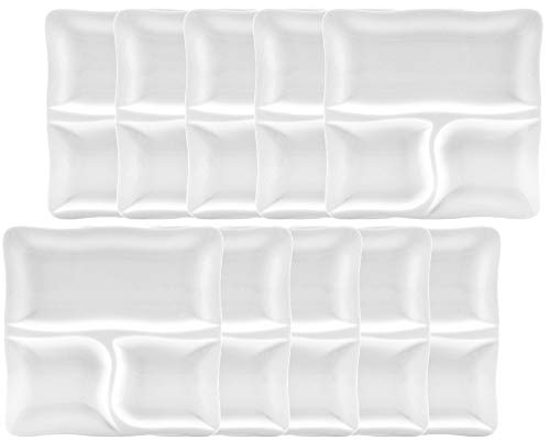 10er SET CreaTable - GOURMET - 3-geteilter Teller 28 cm aus Porzellan/Speiseteller/Fondueteller