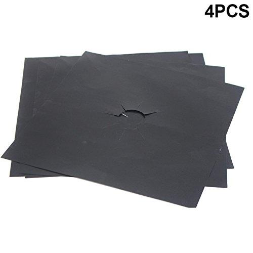Spatschermen voor fornuizen, 4 stuks herbruikbare plaat Gasfornuis Bekleding Beschermhoes Gasfornuis Ovenbeschermingskussen (27x27CM), zwart