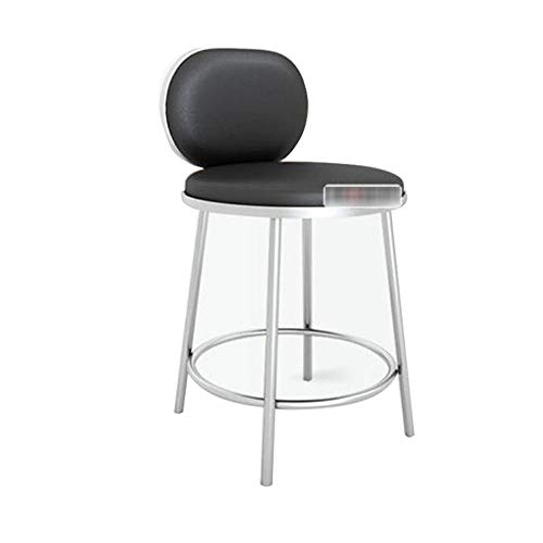 NAN liang Chaise de bar, tabouret de bar en acier inoxydable Ergonomique de chaise Tabouret haut extérieur en PU 9 couleurs en option (Couleur : Black-01)