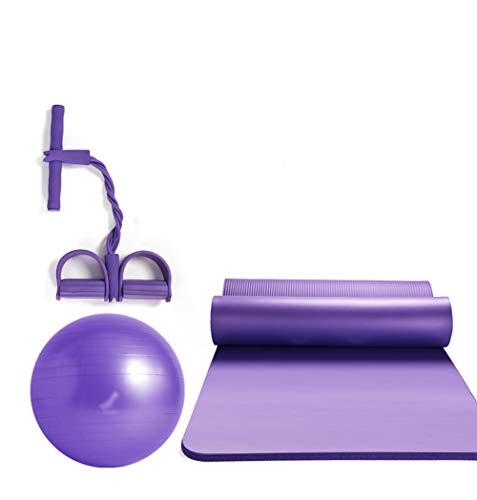 QMMCK 3-delige set fitness yoga bal yogamat Rallye pilates strekken yoga-hulpmiddel explosievrij en antislip wordt gebruikt om fitness-yoga te trainen.