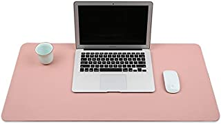 Desk Pad Desk Blotter Mat Table Protector on Top of Office Desks Laptop Computer Desktop Accessory Decorative Cover Large Mousepad for Girl Women Teen Kids PU Leather Easy Clean Cute Pink 17 x 36 Inch