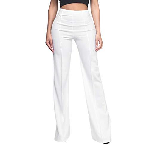 2020 Women High Waist Vintage Pants Loose Striped Cotton Long Wide Leg Lounge Trousers by-NWEONESUN (X-Large, D-White)