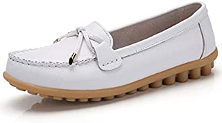 Stunner Casual Peas Shoes Women Leather Small White Shoes Flat Slip On Shoes Comfy Nurse Shoes