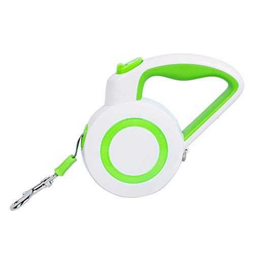 Retractable Dog Leash, Strong Nylon Ribbon Extends 16ft; 360° Tangle-Free;Durable Big Pet Leash, Reflective Retractable Dog Leash with Handle(S, Green)