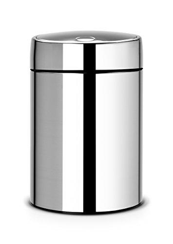 Brabantia Slide Bin - Cubo de Basura, 5 litros, Tapa Deslizante, Cubo Interior de plástico extraíble, Acero Brillante