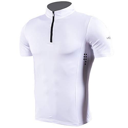 ZHANGYY T-Shirts de Sport pour Hommes Couches de Base de Course Hauts à séchage Rapide Compression de Gymnastique à Manches Courtes Hauts de Fitness Chemises 1/4 Zip à col Montant