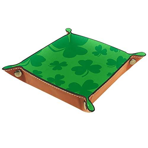 Verde Lucky Irish Clover For St. Patrick's Day | Vassoio in pelle | Comodino e comò Organizer | Vassoio per gioielli per donne e uomini