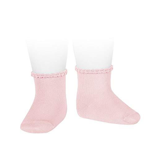 Cóndor Calcetines de bebé con puño labrado Rosa, Talla 00 (3-6 meses)