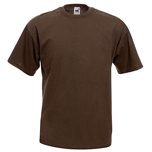 Fruit of the Loom - Camiseta Básica de Manga Corta Modelo Valueweight - Hombres (2XL/Chocolate)