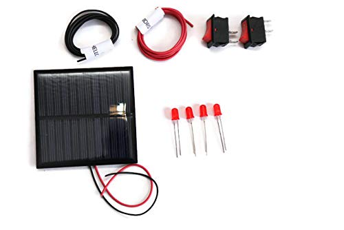 Electronic Spices solar for DIY, solar panel 6v- 100 mah, 70mm*70mm*03mm, solar panel in square shape, 4 leds, 2 ON/OFF switch, 2 meter wire