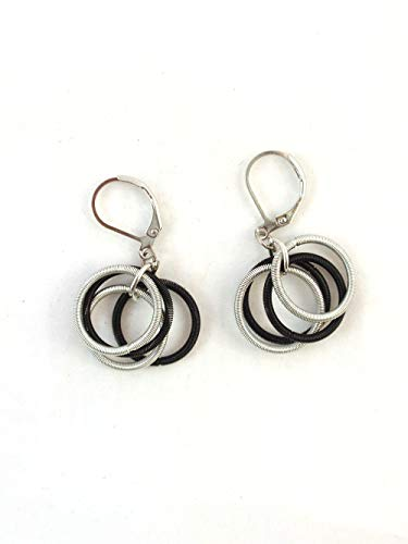The Island Pearl Stainless Steel Earrings Black and Silver