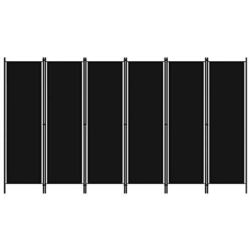 vidaXL Raumteiler Klappbar Freistehend Trennwand Paravent Umkleide Sichtschutz Spanische Wand Raumtrenner 6-TLG. Schwarz 300x180cm Eisen Stoff
