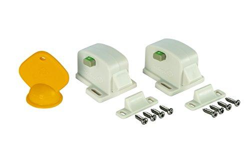 Safety 1st 3202001600 Magnetschloss mit visueller Anzeige, zum Kleben oder Schrauben, 2er-Pack mit 1 Schlüssel, kann ohne Ausbau deaktiviert werden, weiß