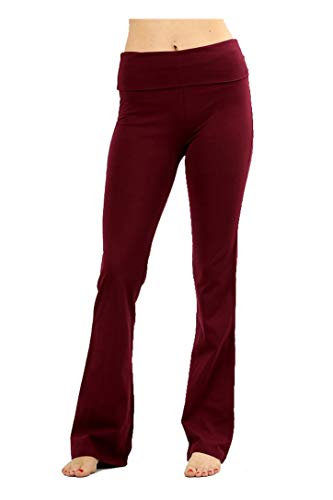 Zenana Premium Cotton FOLD Over Yoga Flare Pants,Burgundy,Large