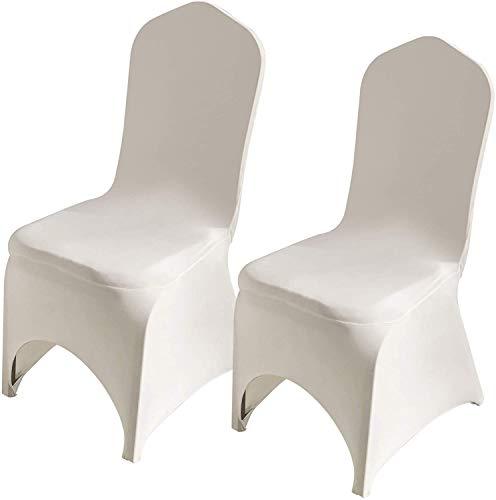Namvo 10 szt. pokrowiec na krzesło spandex lycra rozciągliwy pokrowiec, garnitur na rocznicę ślubu przyjęcie bankiet, elastyczny ochraniacz krzesła do jadalni (kremowo-biały)