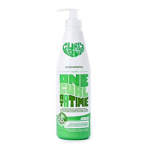 Curly Love Detox Shampoo - Champú Detox 450ml - Sin Parabenos, Siliconas, Colorantes ni Sales Para Cabellos Rizados de Tipo 2B a 3B