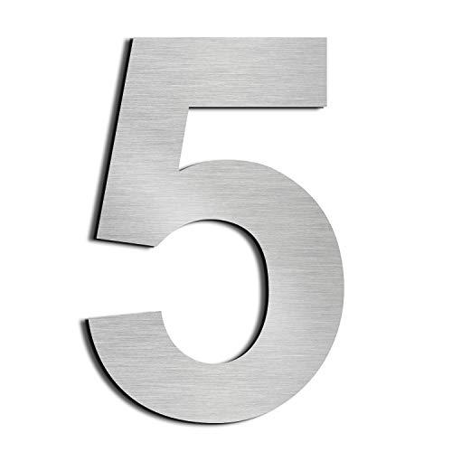 nanly Número de casa moderna-25.4Centímetros/10 pulgadas-Acero inoxidable, Apariencia flotante, Fácil de instalar y hecho de acero inoxidable sólido 304(Número 5)