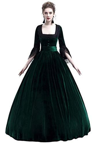 Damen Renaissance Mittelalterlichen Kleid Maxi Party Cosplay Kostüm Grün L