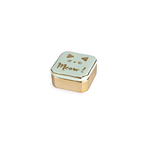 Balvi Porta Anillos Golden Box Meow! Color Verde Cajita para Anillos, Pendientes y Otras Joyas pequeñas Porcelana 4,9cm