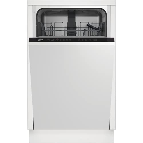 Beko DIS15020 Fully Integrated Slimline Dishwasher - Silver Control Panel with Fixed Door Fixing Kit - E Rated