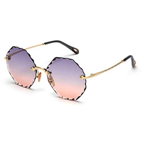 TYJYTM Frauen Damen Randlose Sonnenbrille Polygonal Sommer Stil Runde Achteckige Sonnenbrille Grün Braun Rosa Metall