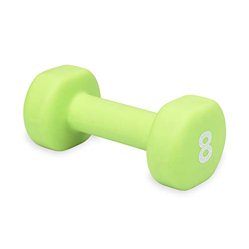 Dumbbell Hand Weight 8 lb - Neoprene Coated Exercise & Fitness Dumbbell for Home Gym Equipment Workouts Strength Training Free Weights for Women, Men (8 Pound, Green)