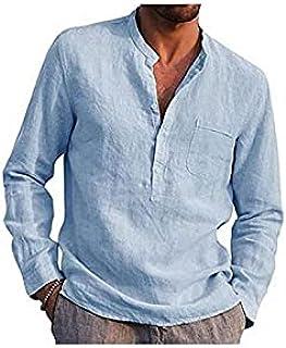 Wanxiaoyyyinnscx Long Sleeve Shirts, Men Solid Color V Neck Long Sleeve Button Pocket T-shirt Top Cotton Linen Shirt (Colo...