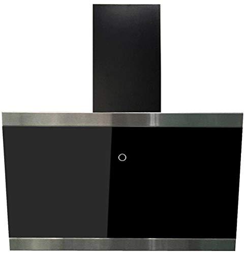respekta kopffreie Schräghaube Dunstabzugshaube Abzugshaube Wandhaube Glas 60 cm schwarz EEKL A+ / Touch Control / Abluft und Umluft / LED
