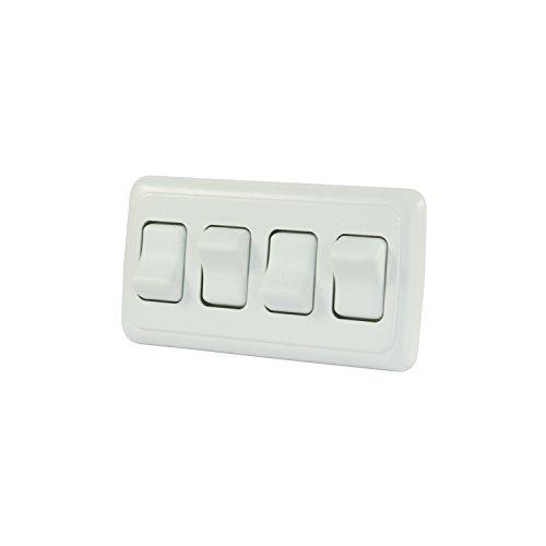 J&R JR Products 12331 Blanc Quad Spst Interrupteur Marche/arrêt avec Cadre