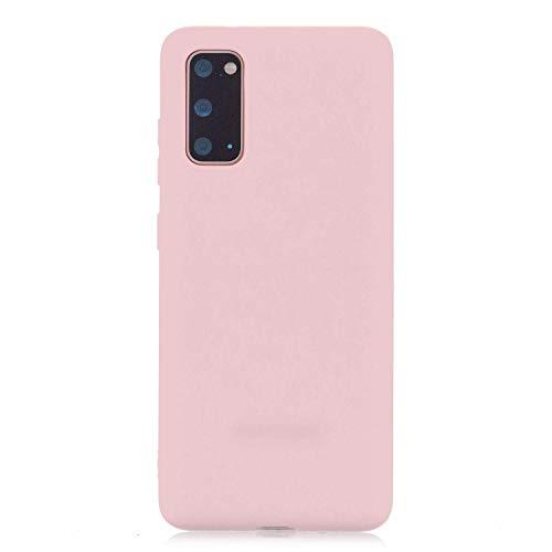 cuzz Funda para Samsung Galaxy A41+{Protector de Pantalla de Vidrio Templado} Carcasa Silicona Suave Gel Rasguño y Resistente Teléfono Móvil Cover-Rosa Claro
