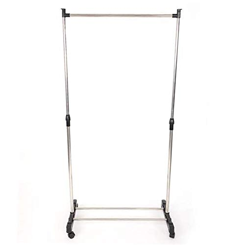 Metal Garment Rack with Wheels Single Bar Vertically Stretching Clothes Rack with Shoe Rack Sliver