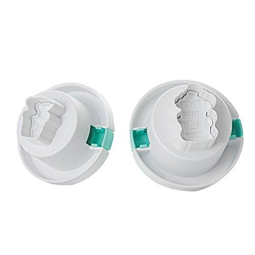Silikomart Wonder Cakes by 25.968.99.0069 Lot de 2 Emporte-pièces Thème Robot, Silicone, Blanc, 16,7 x 17 x 10,5 cm