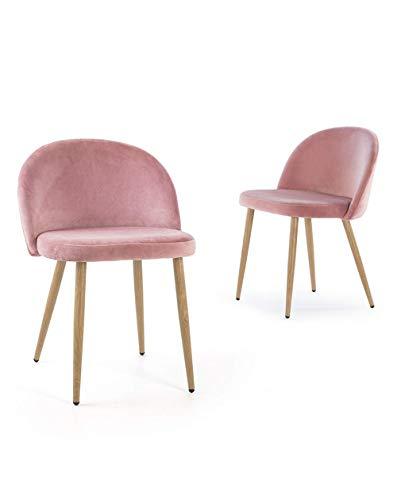 Home Heavenly Juego de Dos sillas Comedor, solón Norway, sillas nórdicas, Modelo Vintage en tapizado Velvet y Patas Color Roble - Norway-Rosa
